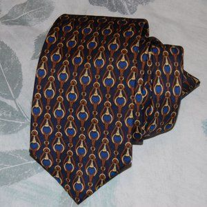 Vintage Burberry UK Made Equestrian Silk Tie